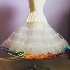Rainbow ribbon trim petticoat 4 LAYERS very by PetticoatsByLori