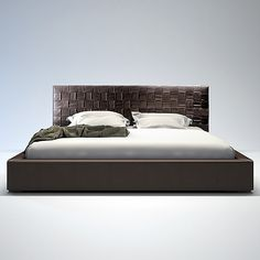 Marburg Bed at www.moderndigsfurniture.com, The Marburg Bed is elegantly designed to make a statement in your modern bedroom. Its stylish hand-woven leather headboard features a sophisticated overlapping technique offering interest and dimension. Flexible wood slats sit inside the leather frame eliminating the need for a boxspring.