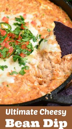 Warm and cheesy Bean Dip made with refried bean dip is made with cream cheese, vegetables, Monterrey Jack cheese, sour cream, and spices. Clean Eating Snacks, Healthy Snacks, Healthy Recipes, Snack Recipes, Delicious Recipes, Hot Bean Dip, Refried Bean Dip, Mexican Food Recipes, Dinner Recipes