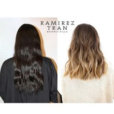 Ombre hair, short medium length, brown blonde, sombre, before after