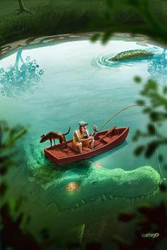 Vacation by Rubens Gomes Dark Fantasy Art, Dark Art, Fantasy Creatures, Mythical Creatures, Sea Creatures, Monster Art, Scary Ocean, Arte Obscura, Jurassic Park World