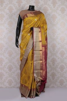 #Yellow multicoloured pure kanchipuram silk #wonderful #saree with antique #gold multicoloured border -SR11551