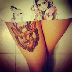 deer tattoo on thigh