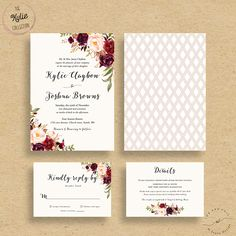 Marsala Wedding Invitations, Fall Floral Wedding Invites, Autumn Winter Wedding Invitations, Bohemian Rustic Wedding Invitation Suite
