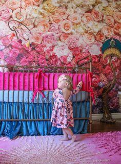 Floral, nursery, Bratt decor, metal crib, boho nursery, boho, ombré, bright nursery, hot pink, peach, wall paper, velvet Bright Nursery, Floral Nursery, Boho Nursery, Ivy Rose, Baby Ideas, Valance Curtains, Cribs, Hot Pink, Peach