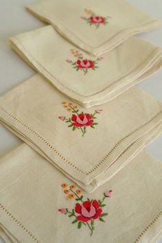 4 x Vintage Embroidered Linen Napkins  by alltheseprettythings, £8.00