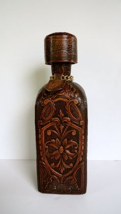 Leather Bottle Made in Spain with Bullfighter by SucresDaintyDish, $35.00