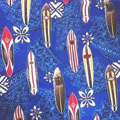 Trendtex Fabrics Hawaiian Surfboard Fabric 105 x 45 Blue Multi Wave Polynesian #Surfboards #fabric # waves