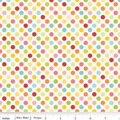 Bright Pink Blue and Yellow Dot Fabric, Hello Sunshine By Lori Whitlock For Riley Blake, Dots Print in Multi, 1 Yard. $8.35, via Etsy.