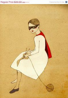 superhero knitting girl