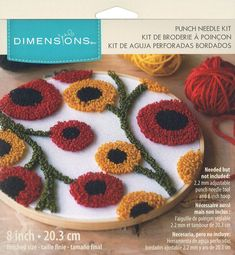 Punch Needle Kits, Punch Needle Patterns, Sewing Pillows, Diy Pillows, Throw Pillows, Embroidery Flowers Pattern, Penny Rugs, Needlepoint Kits, Rug Hooking