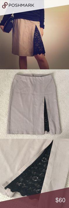 Sisley Tan black lace skirt Sisley Tan skirt. Black lace on one side.  Zipper on back. Great condition like new. Sisley Skirts