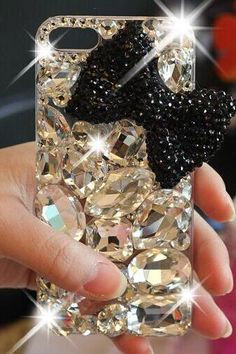 s6 edge 6s plus iPhone 5s 6 Crystal cases sparkly black bow case for iPhone and Samsung mobile Accept OEM phone case