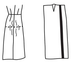 Illustration depicting pattern alteration of skirt for flat side hip