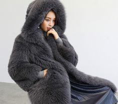 Fox fur coat, crafted of SAGA Fox fur from Finland, with its soft, thick fur, offers a luxurious look. Long length with fixed hood design. Fox Fur Jacket, Fox Fur Coat, Chinchilla, Sable Fur Coat, Fur Cape, Fur Clothing, Cute Jackets, Fur Fashion, Coats For Women