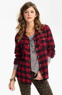 Living Doll Sequin Yoke Plaid Shirt Juniors Black Red X | Top and Clothing