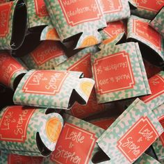 Coral wedding koozies - I know you said you wanted to trim down the list, but I couldn't resist!!