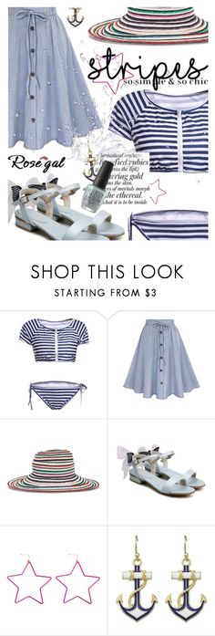 """Striped Swimwear featuring rosegal.com"" by cultofsharon ❤ liked on Polyvore featuring Missoni, AG Adriano Goldschmied and OPI"