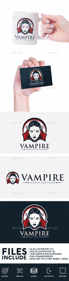 Lady Vampire Logo: Humans Logo Design Template by Logokamu. Business Brochure, Business Card Logo, Logo Design Template, Logo Templates, Best Logo Design, Graphic Design, Calendar Themes, Branding, Font Names