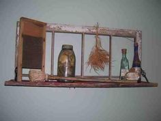 Primitive Shelf made from and old window
