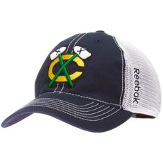 Chicago Blackhawks Navy and White Tomahawks Logo Mesh Back Flex Fit Hat by Reebok #Chicago #ChicagoBlackhawks #Blackhawks