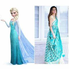 Disney Princess Frozen Elsa saree style   www.tiabhuva.com  Instagram @tiabhuva Youtube.com/tiabhuva