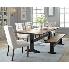Discover the top-rated farmhouse dining room decor ideas for your rustic home. We love rustic dining room decorations and furniture and you will love this too. Mahogany Dining Table, Trestle Dining Tables, Solid Wood Dining Table, Dining Table In Kitchen, Dining Room Sets, Dining Room Furniture, A Table, Dining Bench, Bench Furniture