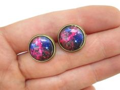 Space Nebula Earring Studs  Galaxy Jewelry by StylesBiju on Etsy, $13.50