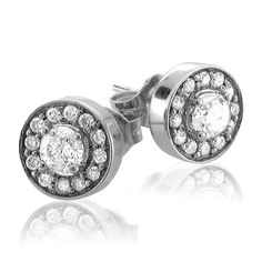 0.45 carat Cluster Diamond Stud Earrings in 14k White Gold (GH, I1-I2)