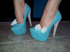 Blue Heels with Silver Bow