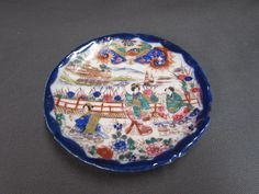 Vintage Oriental Japanese Geisha Saucer | Blue Green Red Oriental Scenery Plate - Etagere Antiques, Vintage, Collectibles
