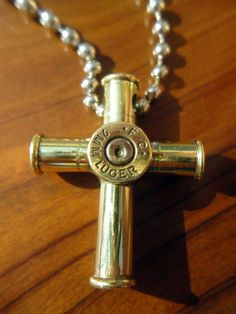 Bullet Casing Cross Pendant Necklace - Small
