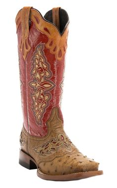 Lucchese® 1883 Red Collection™ Women's Tan Maddog Full Quill with Red Top Exotic Square Toe Cowboy Boots