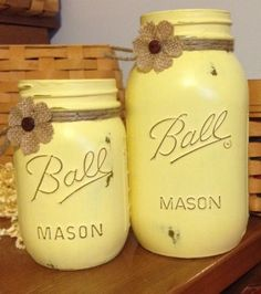 Painted Mason Jars. Set of Yellow Chalky Finish includes One quart and one pint size. Perfect centerpiece for all occasions.  by JenmarksCraftyShop on Etsy