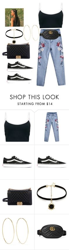 """""""Boyfriend Jeans"""" by reginaj1021j ❤ liked on Polyvore featuring Vans, Chanel, Anton Heunis, Magda Butrym and Gucci"""