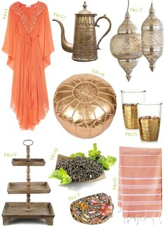 moroccan inspired tea board....yes please, i'll take it all, with a leather belt added to the dress and a headwrap with a little sparkle.  and maybe some bracelets...can never have enough of those!