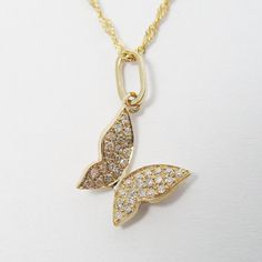 Butterfly diamond necklace. Gold diamond by WeddingRings585, $453.00