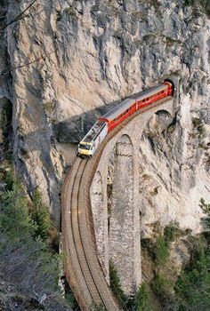Beautiful train tunnel in Switzerland.