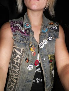 Diy Punk Vest - cool use of larger patches vertically as opposed to horizontally