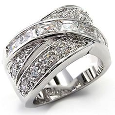 Silver-tone Overlap Baguette Ring Rhodium Plated Glamorous Crossover Design #unbranced #Cocktail