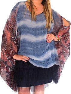 Tunique grande taille forme poncho bleu jeans boheme www.soobysophie.com