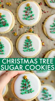 Christmas Sugar Cookies that don't require any chill time! The easiest Christmas tree cookie design. No chill cut out sugar cookies. via christmas cookies Christmas Sugar Cookie Cut-Outs - Dessert for Two Christmas Tree Cookies, Christmas Snacks, Xmas Cookies, Christmas Cooking, Holiday Treats, Christmas Christmas, Christmas Parties, Christmas Recipes, Holiday Desserts