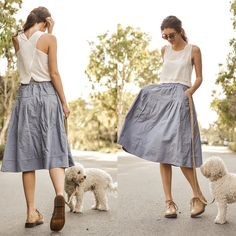 Elle-May Leckenby - Sheinside Blue Midi Skirt With Pockets, Sheinside White Cross Back Tank - Going to le park