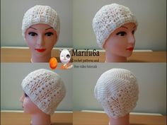 How to crochet white puff hat free pattern tutorial by marifu6a - YouTube