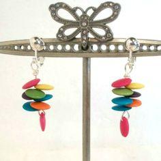 Handmade earrings clip on dangle disk hot pink aqua orange green yellow Pat2 #Pat2 #dropdangle