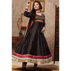 Black Colour Banarasi Weaved Anarkali Salwar Suit