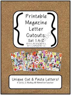 Printable Magazine Letter Cutouts, Set 1, Alphabet a-z: Word Work, Literacy from MamaVonTeacher on TeachersNotebook.com (9 pages)  - printable magazine letter cutouts