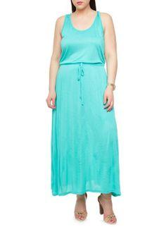 Plus Size Racerback Maxi Dress with Drawstring Waist