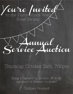 """Last Thursday i helped put on the annual service auction at church. It is one of our most anticipated and well attended activities, and rightly so, its so fun! Here is how it works, everyone attending should bring a """"service"""" – anything from a chocolate cake, cute hair bows, freezer meals, or any other ready-made thing …"""