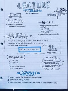 emma's studyblr studypetals: // days of productivity // made a layout of how i generally organize my notes! this is only one example; i have a lot of different layouts. this one is my most used, so i thought i'd share! Class Notes, School Notes, College Notes, College Note Taking, Note Taking High School, School Study Tips, Back To School Tips, Study Organization, School Organization Notes